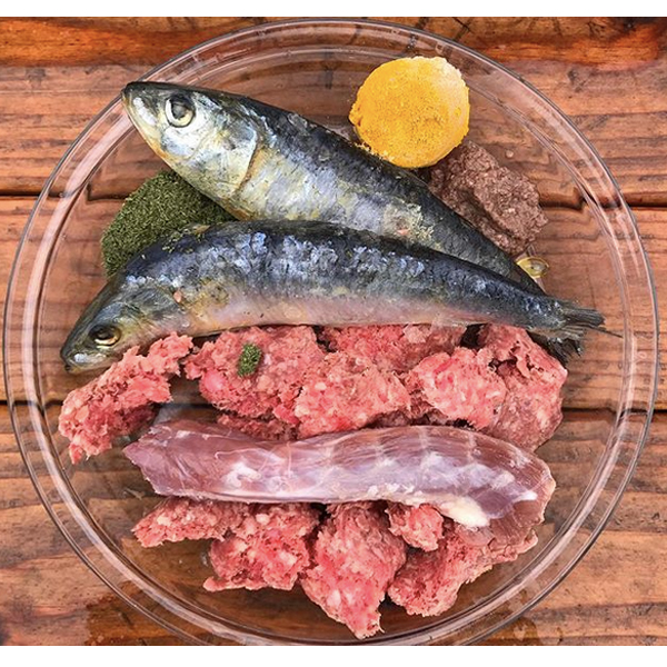 Raw food for your Frenchie dog idea #41  Ground rabbit with bone, sardines, duck neck, ground beef liver (with ACV and blueberries), turmeric paste, spirulina wheatgrass supplement, and Vitamin E