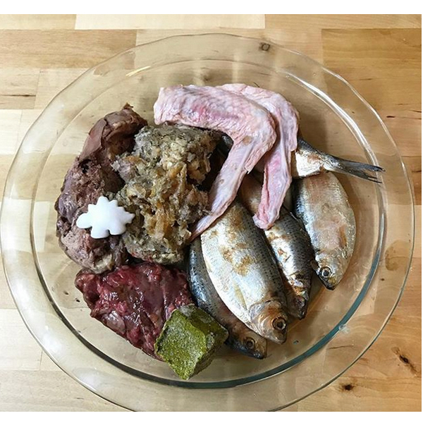Dog raw food for your Frenchie: Thread herring, duck wings, green tripe, ground beef lung, ground beef organs, coconut oil, salmon oil, apple cider vinegar, vit e, and special k-cube.