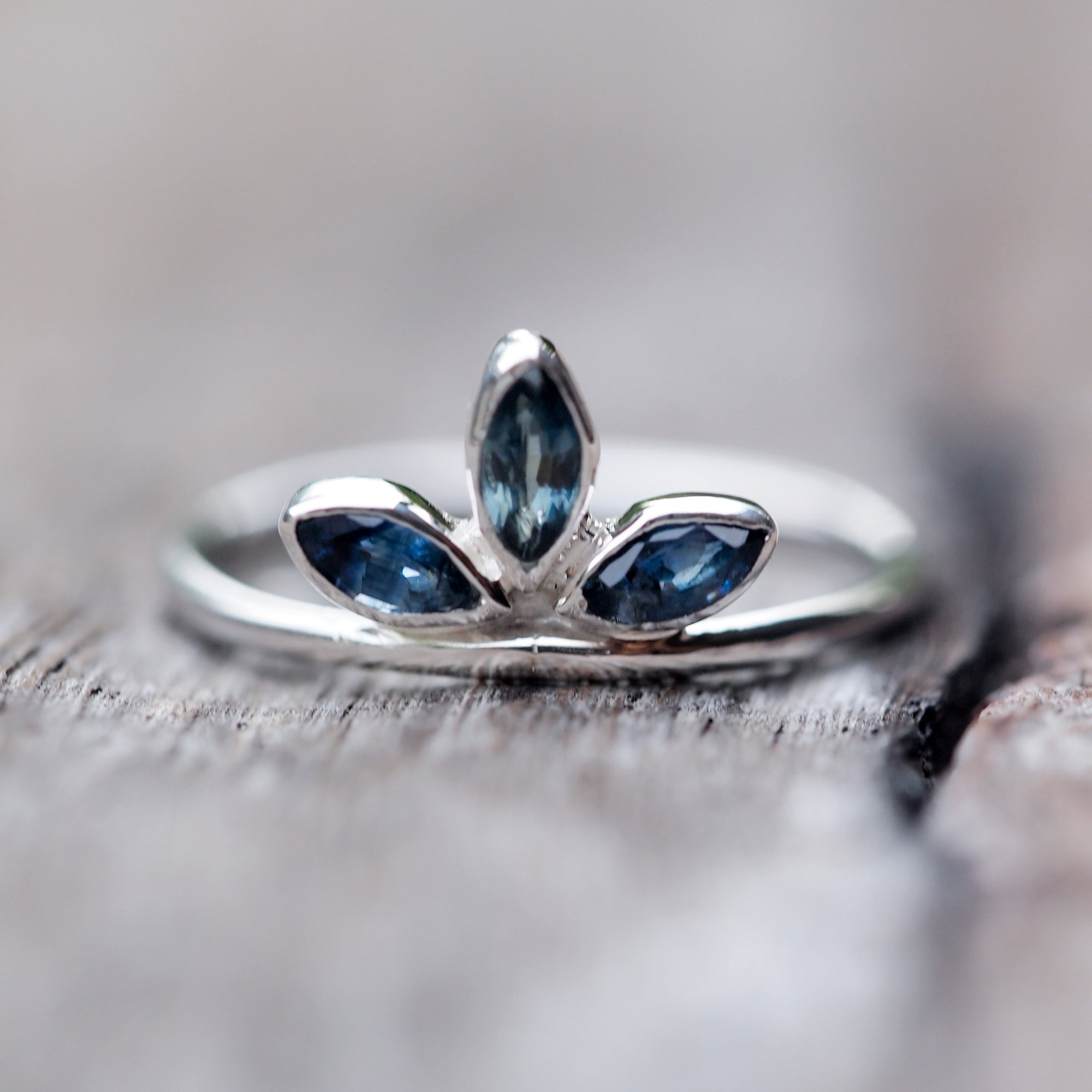 Marquise sapphire crown ring