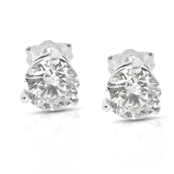 3 Prong Basket Setting Diamond Stud Earrings in 14K White Gold (0.75 CTW)