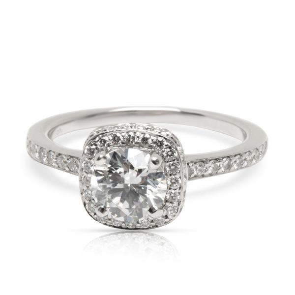 GIA Blue Nile Diamond Halo Engagement Ring in 18K White Gold (0.80 ct D/VVS1)