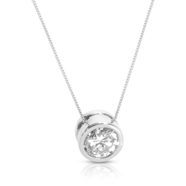 Diamond Bezel Set Solitaire Necklace in 14K White Gold (1 CTW)