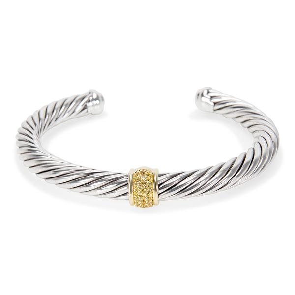 David Yurman Cable Yellow Sapphire Bangle in Sterling Silver & 18K Gold 7mm