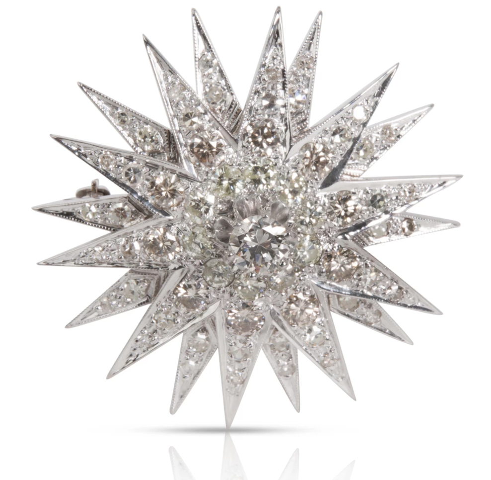 Estate Starburst Diamond Brooch in 14K White Gold 5.14 CTW
