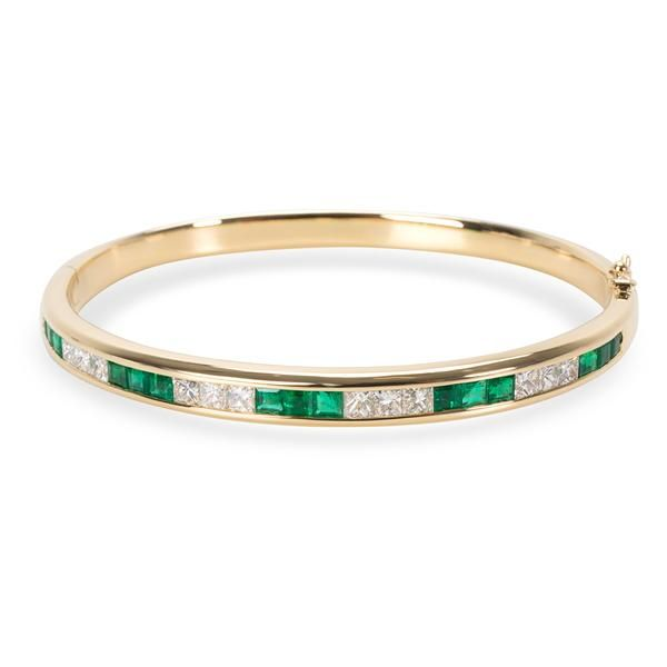 Diamond & Emerald Bangle in 18K Yellow Gold (2.16 CTW)