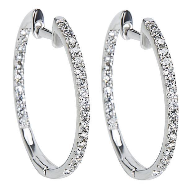 Diamond Inside Out Hoop Earrings in 14K WG (0.50 CTW)