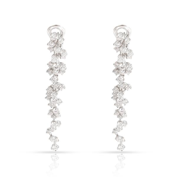 FRED Cascading Diamonds Dangle Earrings in 18K White Gold 4.13 CTW