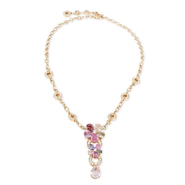 Bulgari Flora Sapphire & Diamond Necklace in 18KT Gold 2.24 CTW