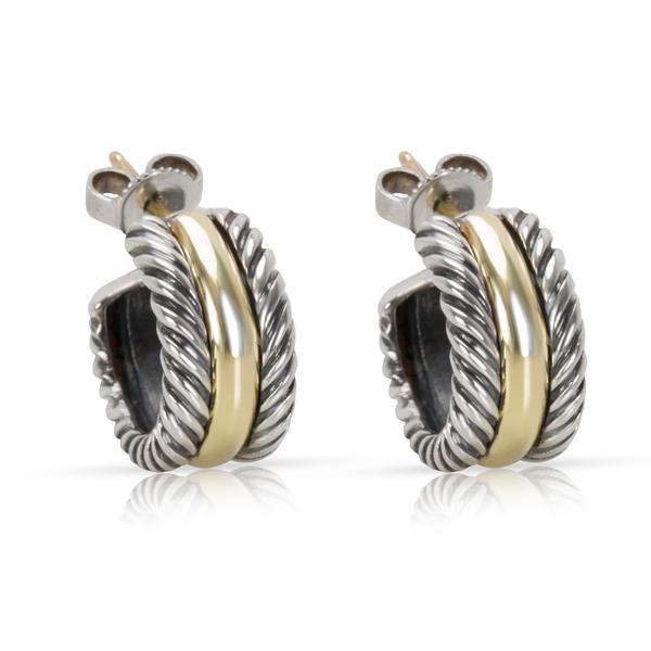 David Yurman Mini Hoop Huggie Earrings in 14K Yellow Gold & Sterling Silver