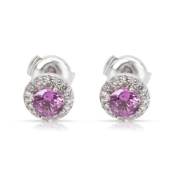 Tiffany & Co. Soleste Pink Sapphire & Diamond Earrings in Platinum (0.18 CTW)