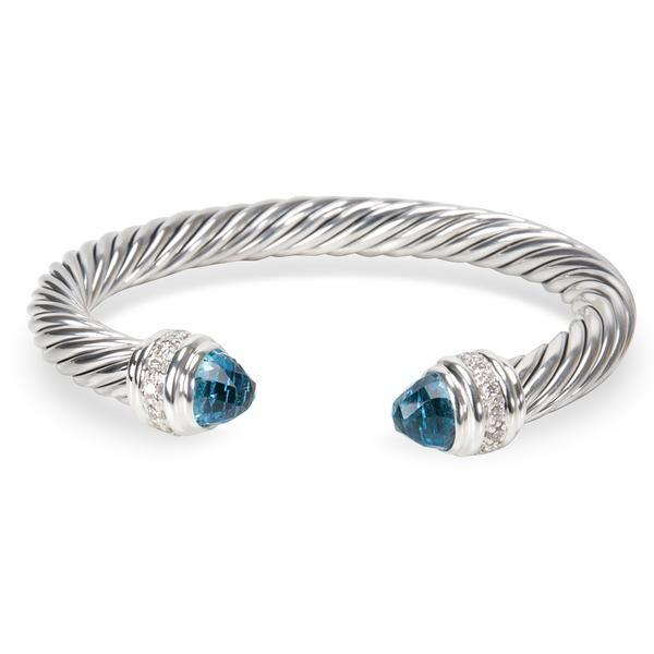 David Yurman Blue Topaz & Diamond Cable Bracelet in Sterling Silver