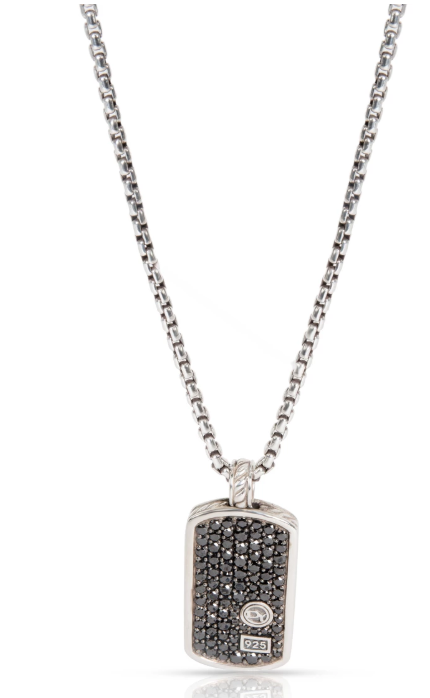 David Yurman Pave Tag Black Diamond Necklace in Sterling Silver 1.55 CTW
