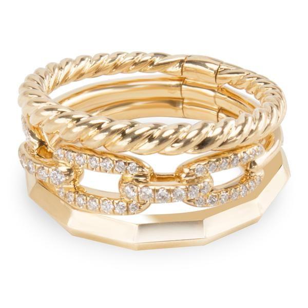 David Yurman Stax Ring in 18KT Yellow Gold 0.15 CTW