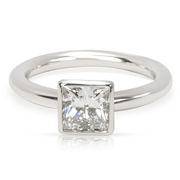 Tiffany & Co. Princess Cut Bezel Set Diamond and Platinum Engagement Ring (1.04 ct G/VVS2)