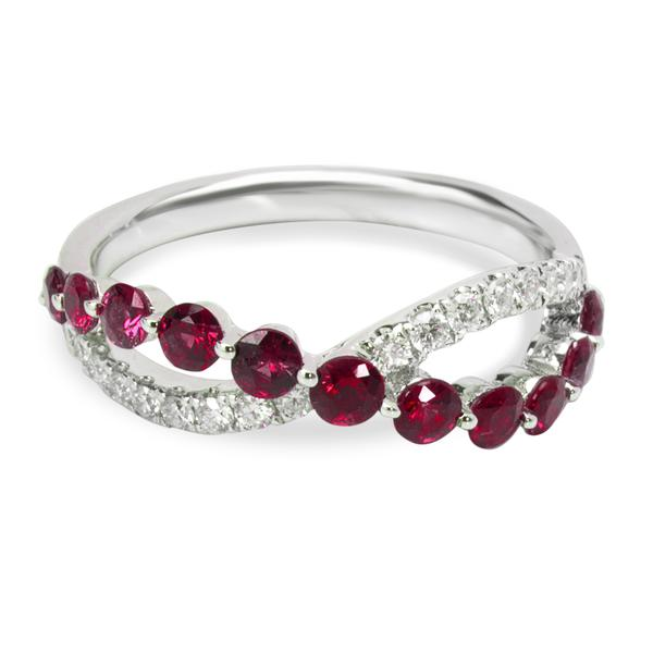 Diamond & Ruby Crossover Ring in 18KT White Gold 1.06 ctw