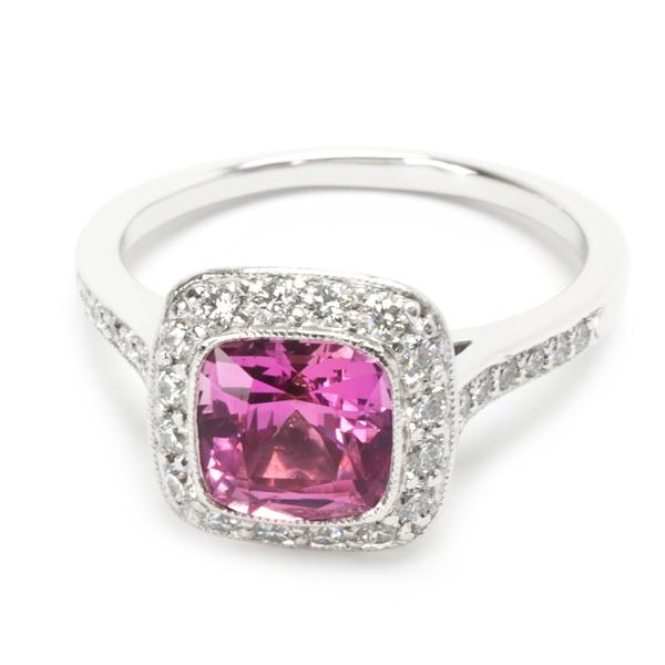 Tiffany & Co. Legacy Pink Sapphire & Diamond Ring in Platinum 0.54 CTW