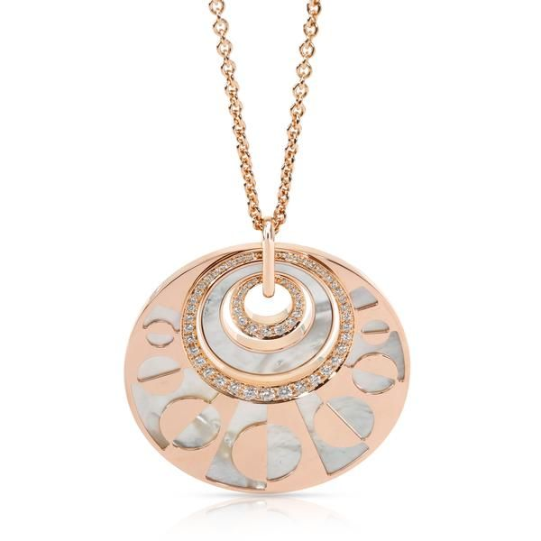 Bulgari Intarsio Mother Of Pearl & Diamond Necklace in 18K Rose Gold 1.5 CTW