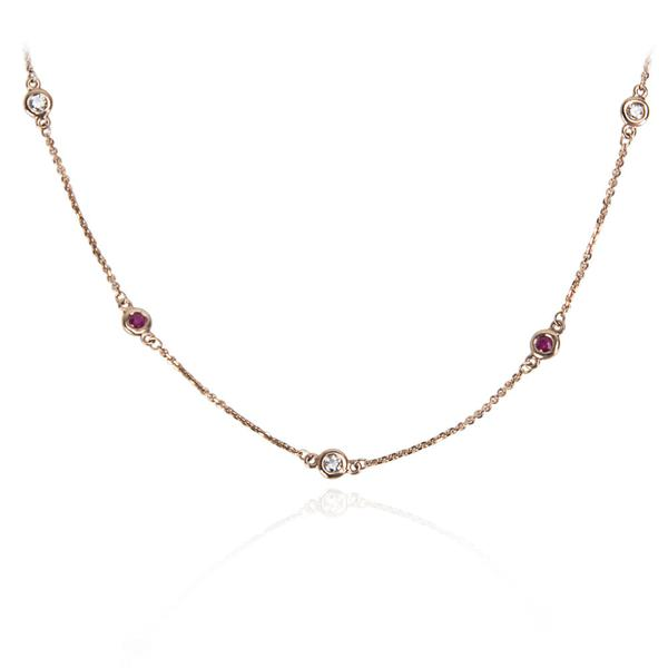 IGL Certified Diamond & Ruby By The Yard Necklace in 14K RG (0.59 CTW)