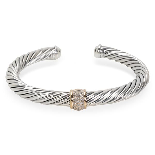 David Yurman Diamond Cable Bangle in Sterling Silver & 18K White Gold (7 mm)