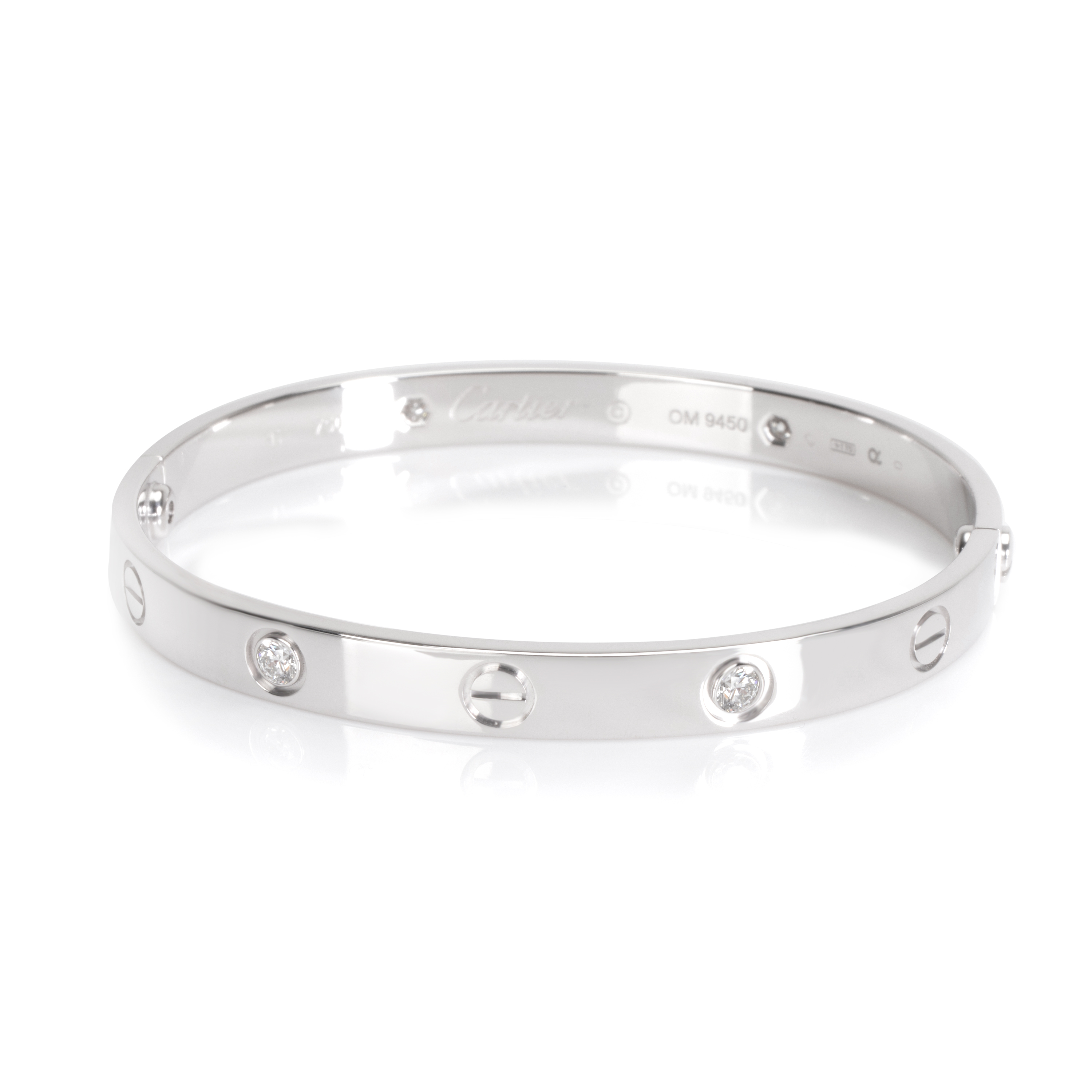 Cartier Love Diamond Bracelet in 18K White Gold (Size 17)