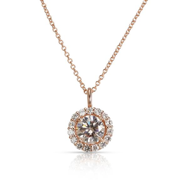 GIA Certified Light Pink Diamond Halo Pendant in 14K White Gold SI1 1.42 CTW