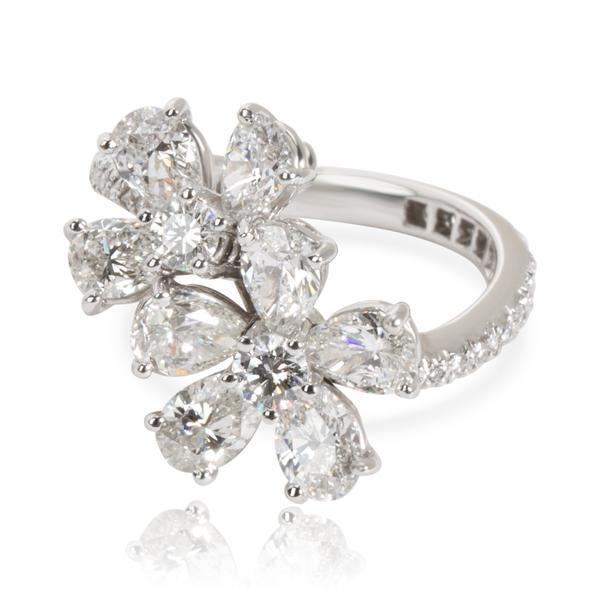 Graff Pear & Round Cut Diamond Flower Ring in 18K White Gold 2.86 CTW