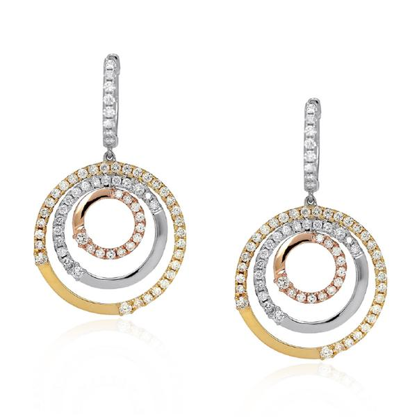 BRAND NEW Diamond Concentric Circle Earrings in 18K Three Tone Gold (2.83 CTW)