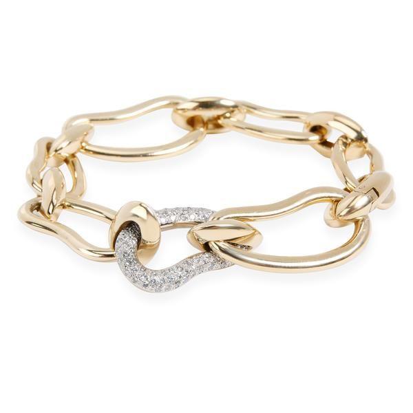 Pomellato Paisley Diamond Link Bracelet in 18K 2 Tone Gold 0.75 CTW