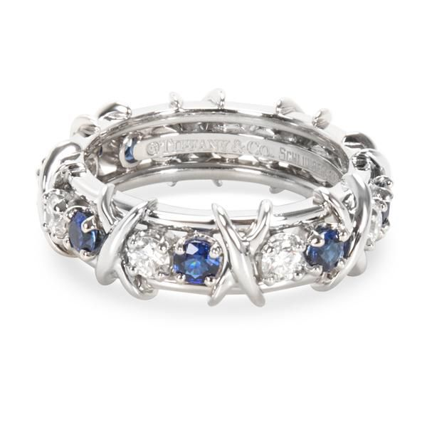 Tiffany & Co. Schlumberger Diamond & Sapphire Sixteen Stone Ring in Platinum