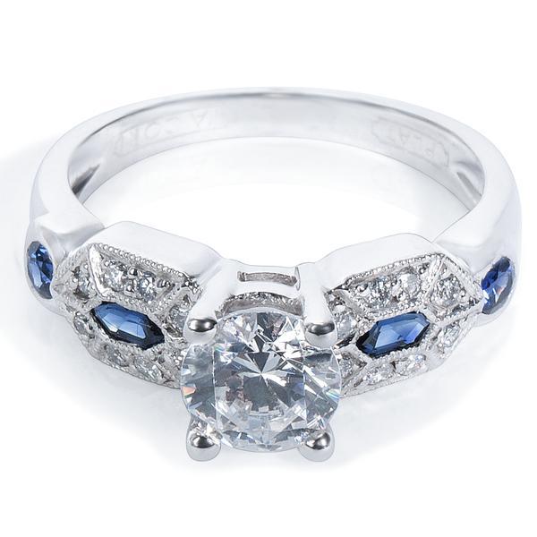 Tacori Diamond & Sapphire Engagement Ring Setting in Platinum (1/3 CTW)