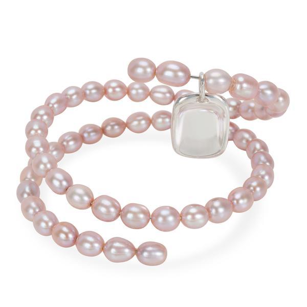 Tiffany & Co. Elsa Peretti Spiral Pink Pearl Bracelet in Sterling Silver