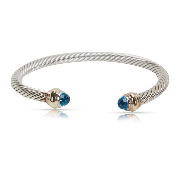 David Yurman Cable Blue Topaz Bracelet in Sterling Silver & 14K Yellow Gold
