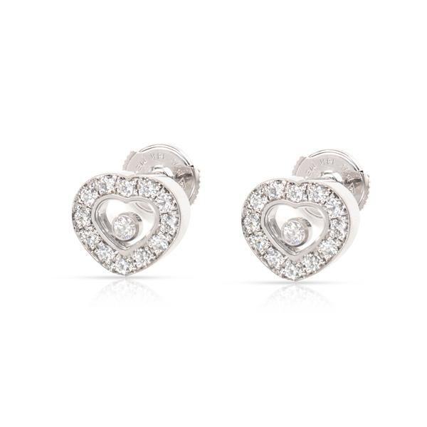 Chopard Happy Hearts Diamond Stud Earring in 18K White Gold 0.52 CTW