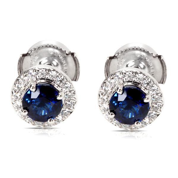 Tiffany & Co. Soleste Sapphire & Diamond Halo Earrings in Platinum