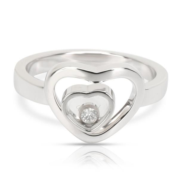 Chopard Happy Diamonds Double Heart Ring in 18K White Gold 0.05 CTW