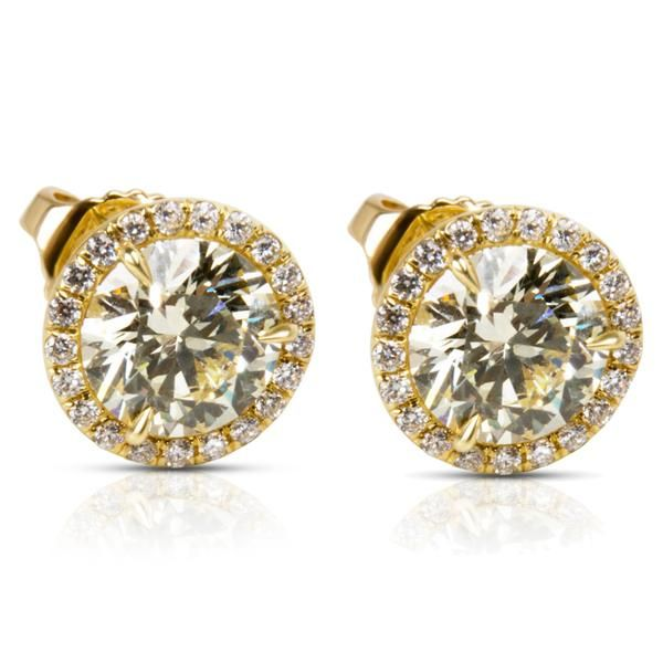 BRAND NEW Diamond Halo Studs in 18k Yellow Gold (2.27 CTW)