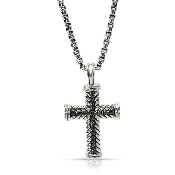 David Yurman Chevron Cross Necklace with Black Diamonds in Silver 0.78CTW