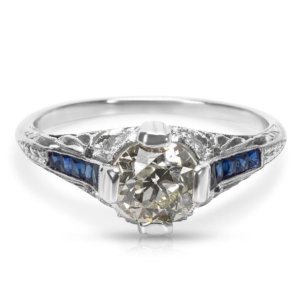 IGL Certified Art Deco Estate Diamond & Sapphire Engagement Ring in Platinum