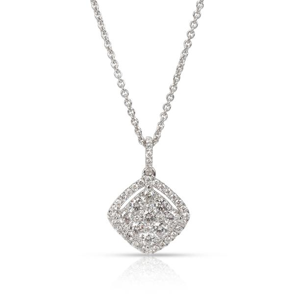 Roberto Coin Diamond Halo Square Pendant in 18K White Gold (1.20 CTW)