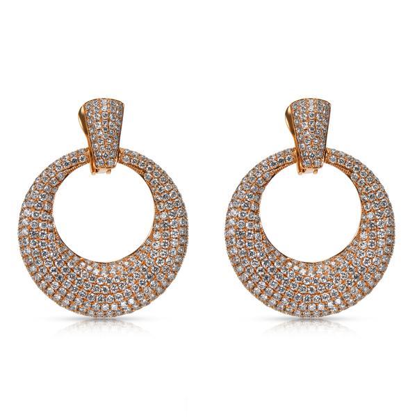 BRAND NEW Pave Diamond Round Door Knocker Earrings in 18k Pink Gold (6.36 CTW)