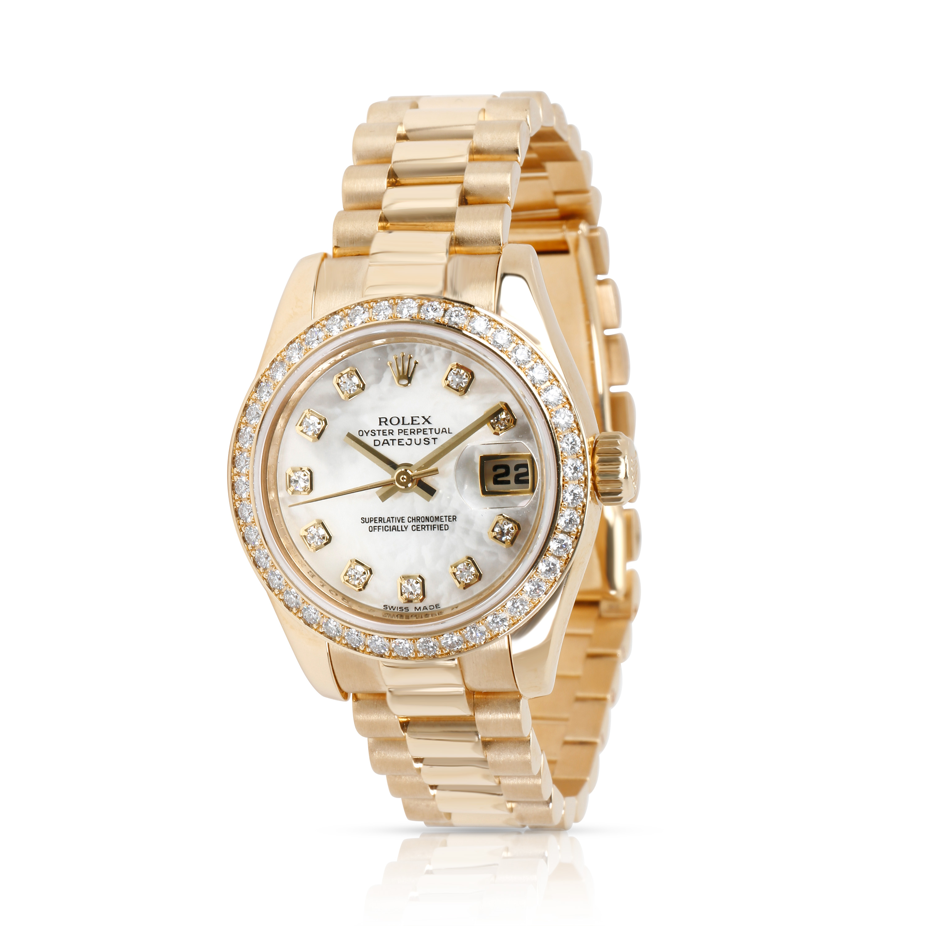 Rolex Datejust Women's Watch in 18kt Yellow Gold with diamonds