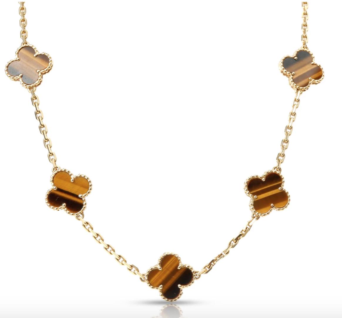 Vintage Van Cleef & Arpels Tiger Eye Alhambra Necklace in 18K Gold