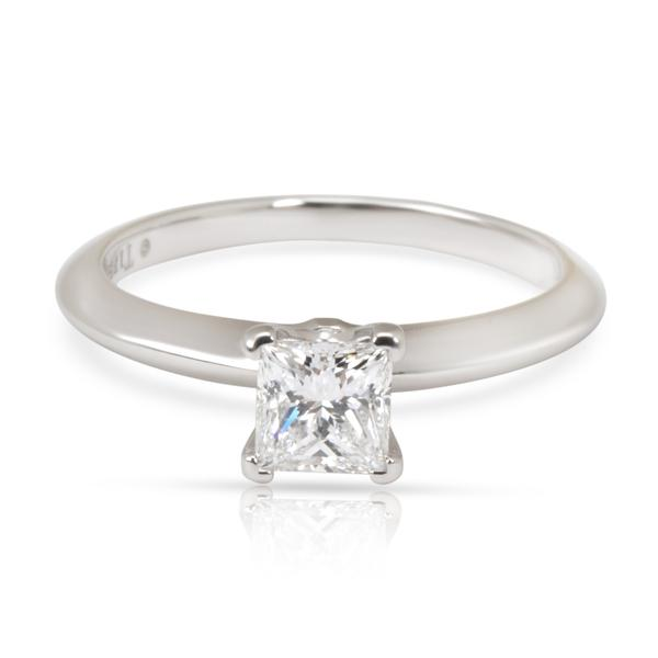 Tiffany & Co. Princess Solitaire Diamond Ring in Platinum D VVS1 0.44 CTW