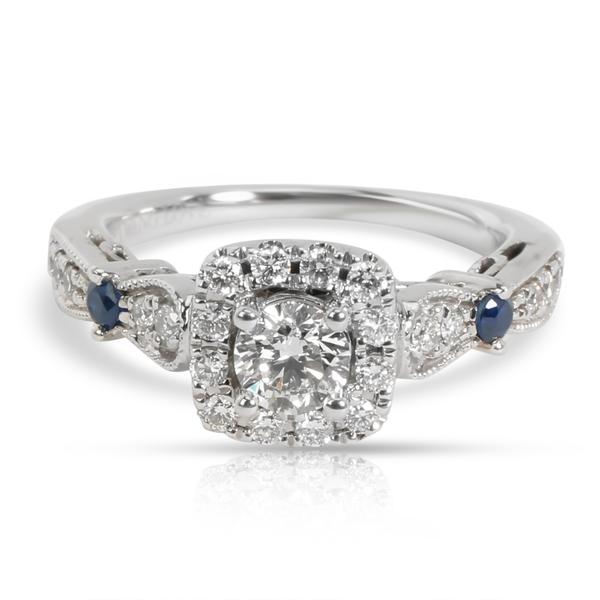 Vera Wang Love Collection Diamond & Blue Sapphire Vintage-Style Ring in 14K Gold