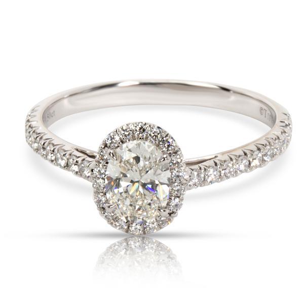 Tiffany & Co. Soleste Oval Diamond Engagement Ring in Platinum H VVS2 0.76 CTW