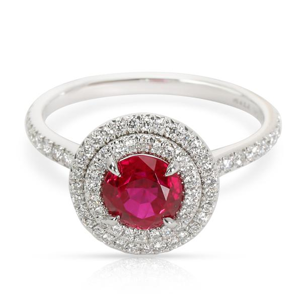 Tiffany & Co. Platinum Ruby Soleste Diamond Ring (0.36 cts)