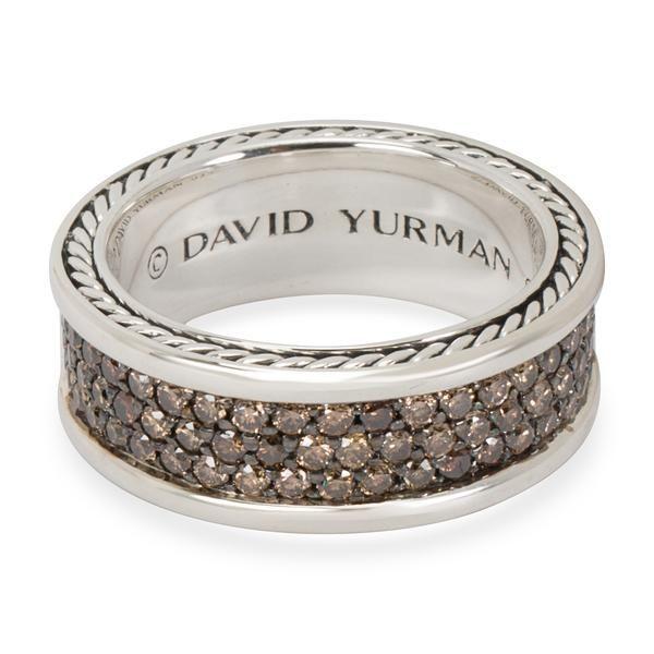 David Yurman Streamline Three Row Cognac Diamond Men's Ring in Sterling Silver