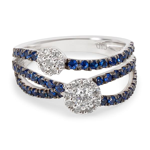 BRAND NEW Diamond and Sapphire Flower Cluster Ring in 14K WG