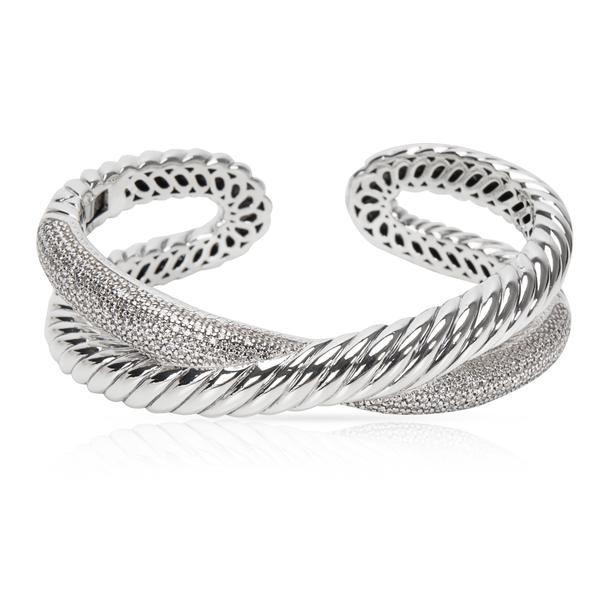 David Yurman Diamond Crossover X Cuff in Sterling Silver (1.50 CTW)