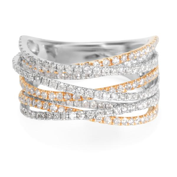 BRAND NEW Diamond Criss-Cross Strands Ring in 14k Two-Tone Gold (1.76 CTW)
